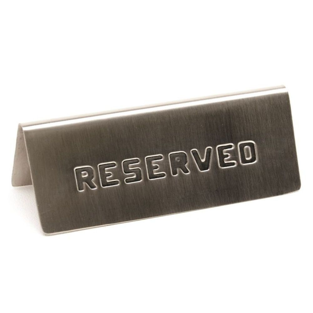 Stainless Steel Reserved Table Sign: Genware Stainless Steel Reserved Table Sign