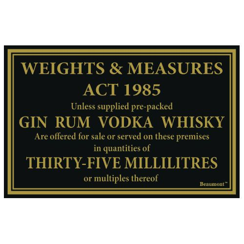 35ml Weights & Measures Act Sign