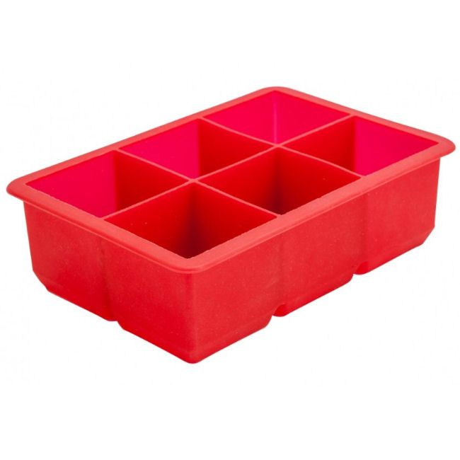 6 Section Red Silicon Ice Mould 2 Ice Cube