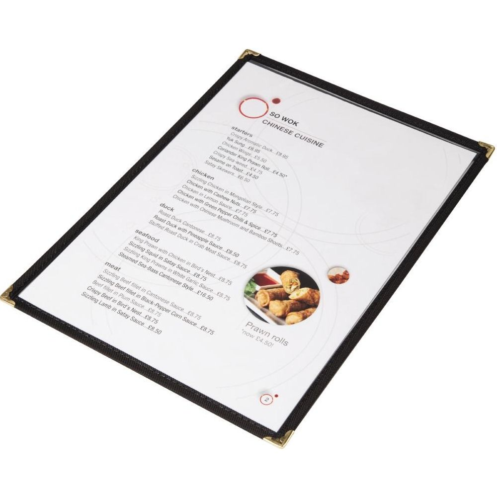 American Style Clear A4 Menu Cover - 1 Page