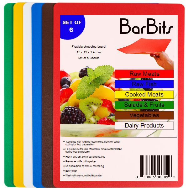 BarBits 6 Colour Coded Flexible Chopping Board Set