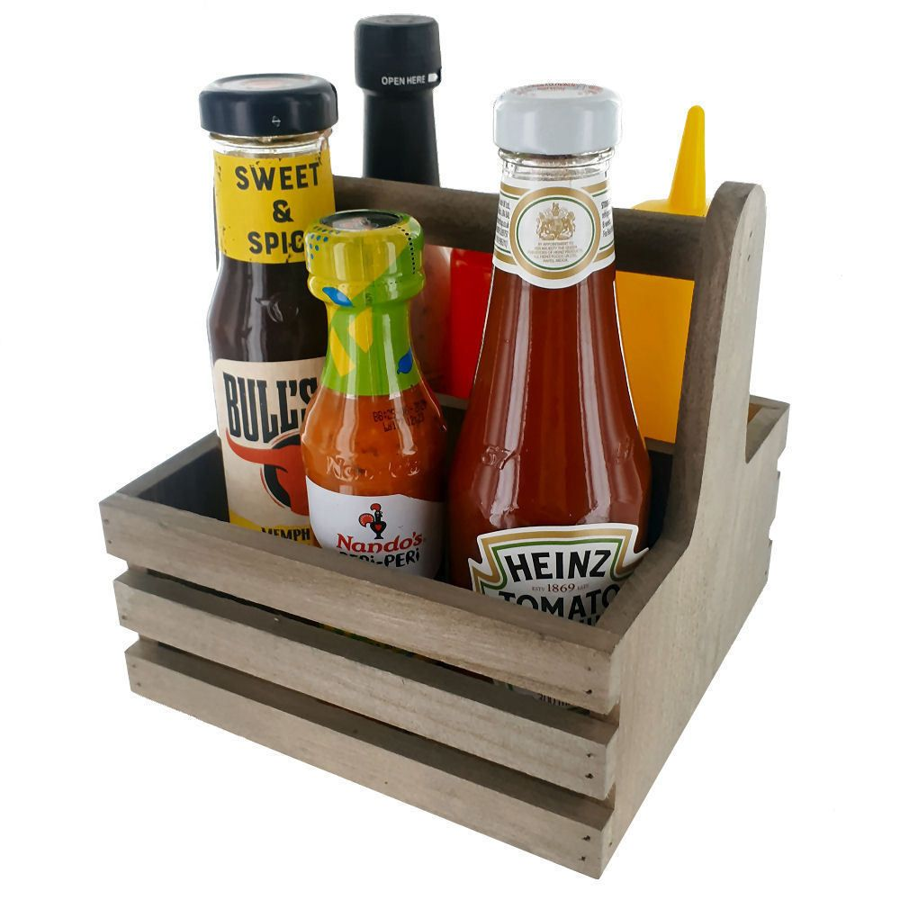 BarBits Square Wooden Condiment Caddy
