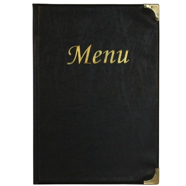 Black A5 Wine Menu Cover Wine 8 Pages