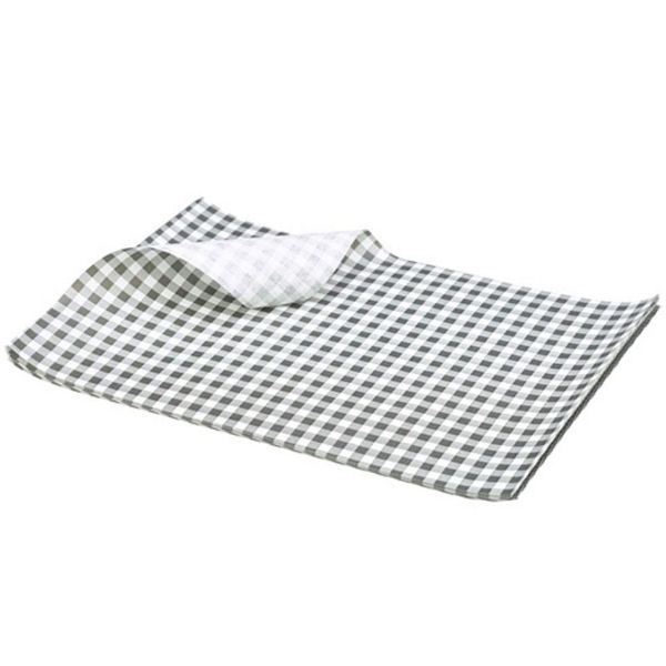Black Gingham Greaseproof Paper 25 x 20cm