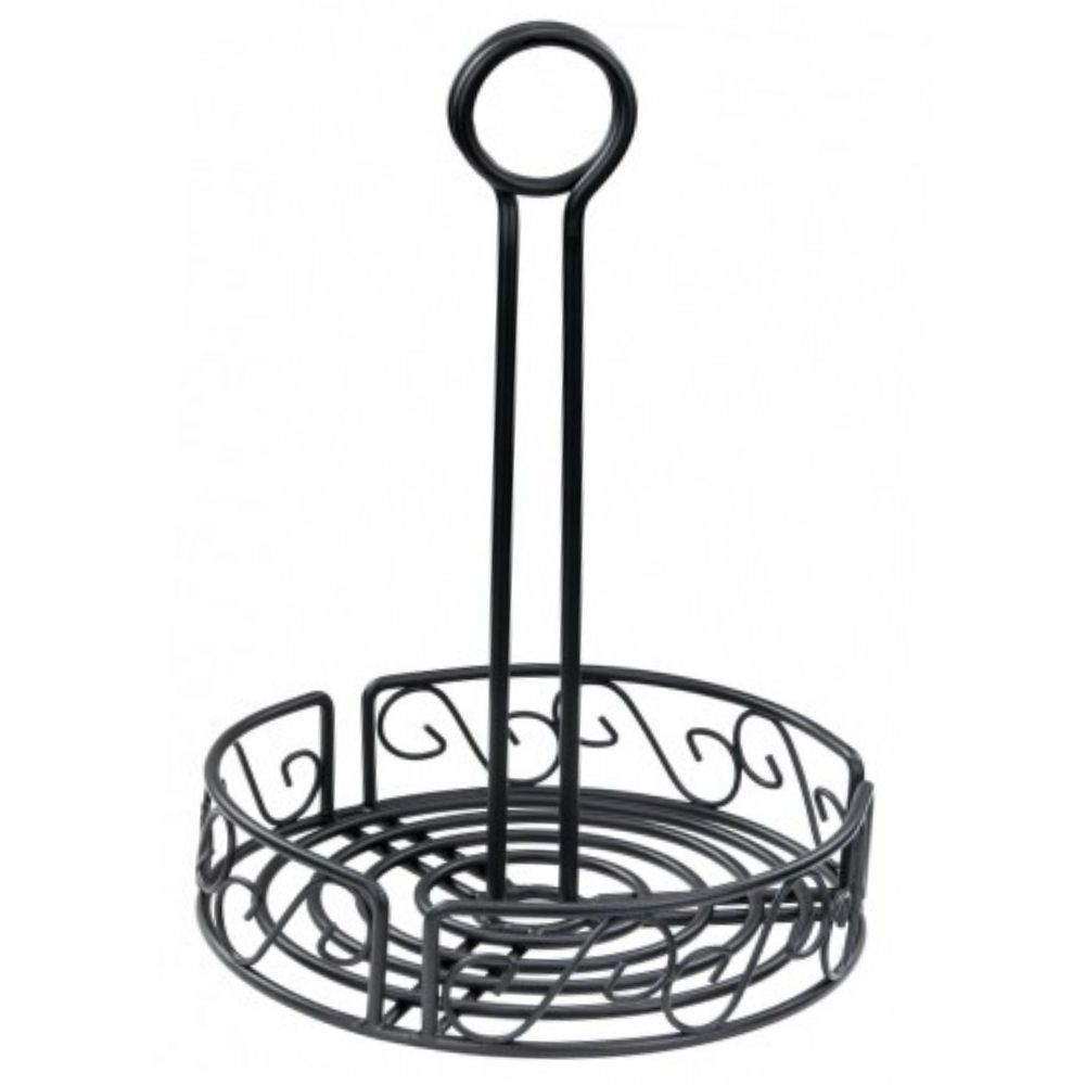 "Black Wire Table Caddy 6.5"" Dia X 8.5"" (H)"