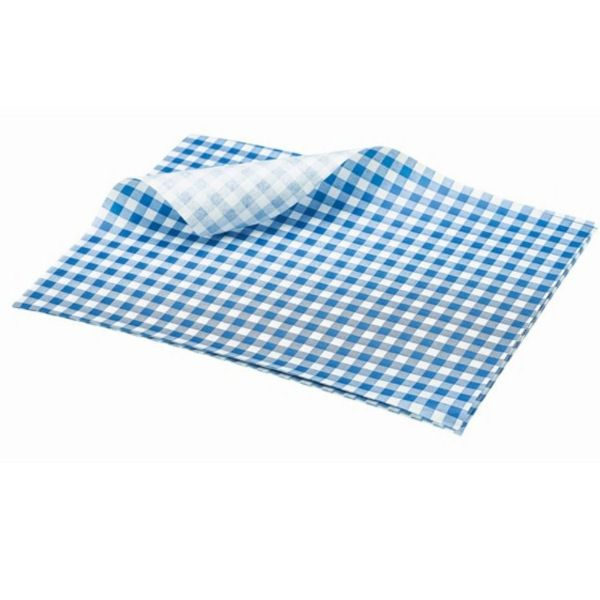Blue Gingham Greaseproof Paper 25 x 35cm