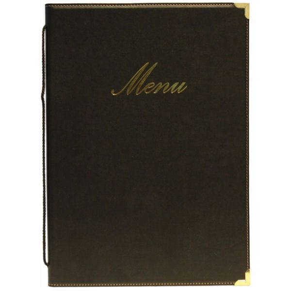 Classic Black A5 Menu Cover Holder 4 Pages