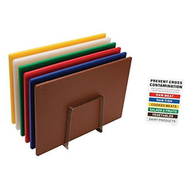 Colour Coded Chopping Board Set With Chart & Metal Stand