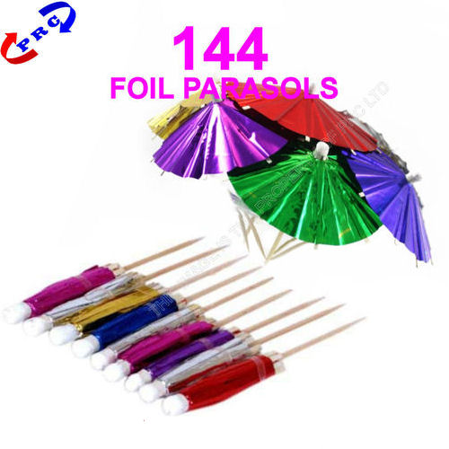 Foil Parasols Cocktail Party Umbrellas - 144