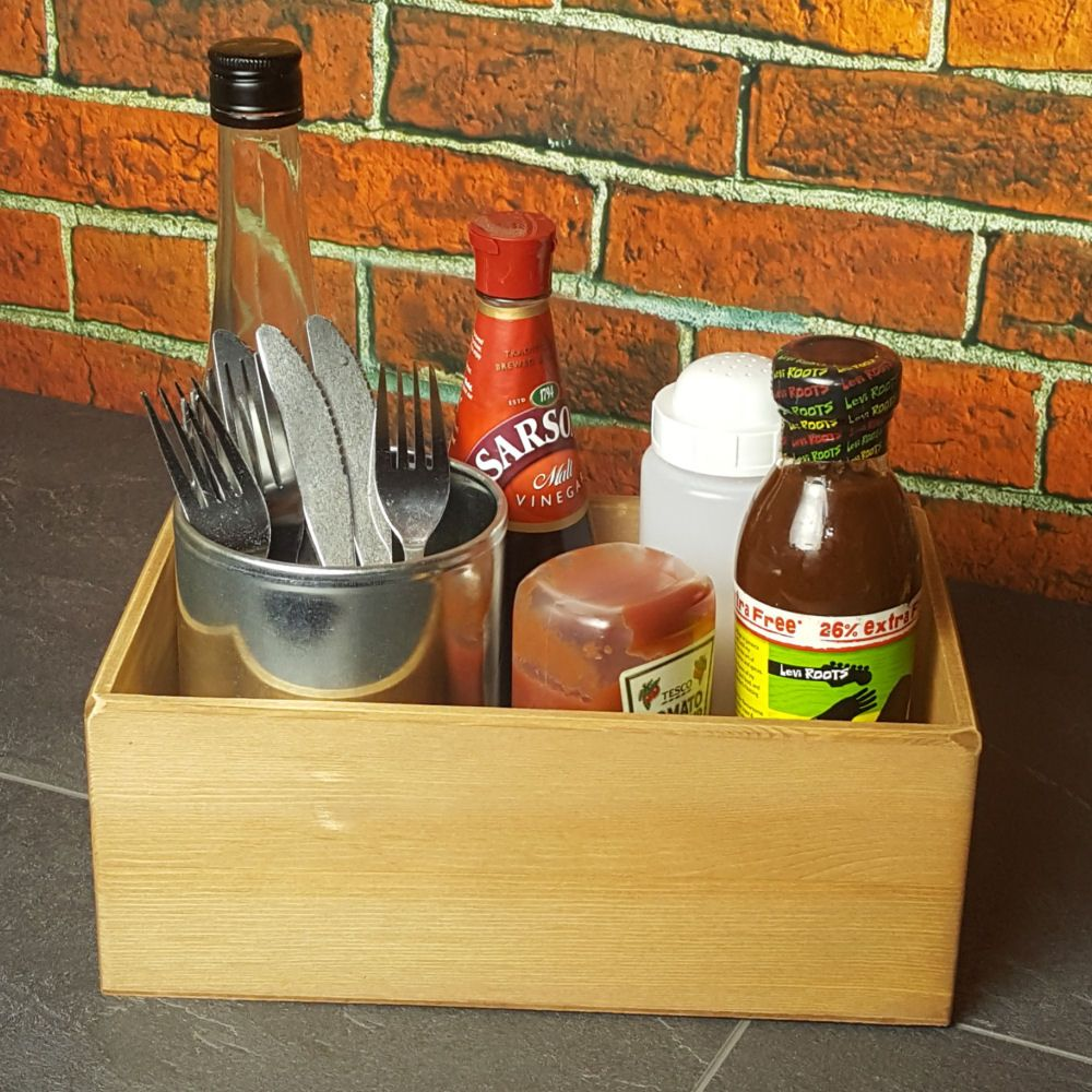 Large Wooden Condiment Table Caddy - 10 x 23 x 18cm