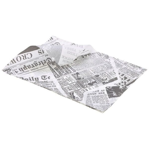 Printed News Paper Greaseproof 25x35cm (1000 sheets)