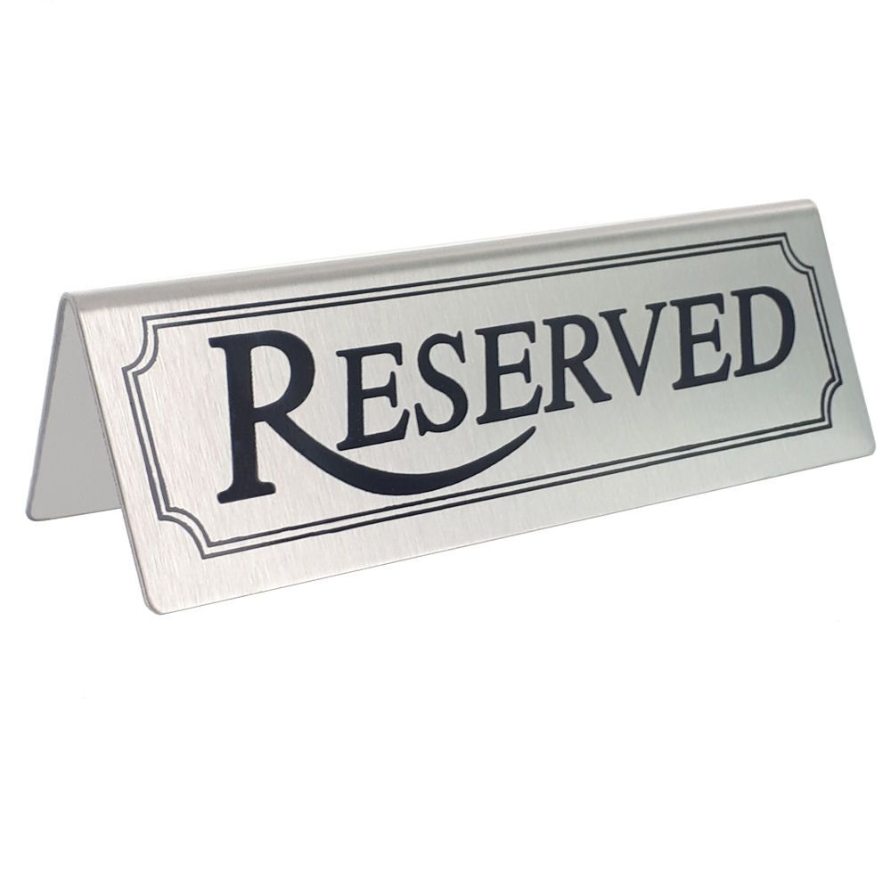 Reserved Table Sign Stainless Steel - Pack of 10