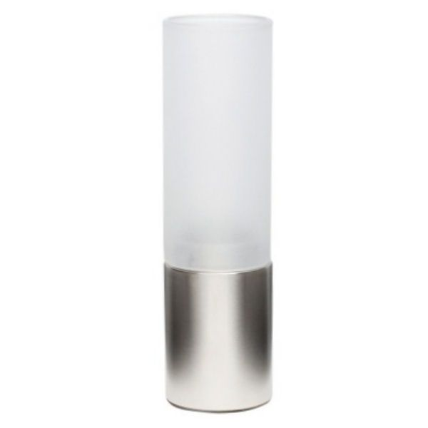 Rosted Glass Table Lamp With Stainless Steel Base