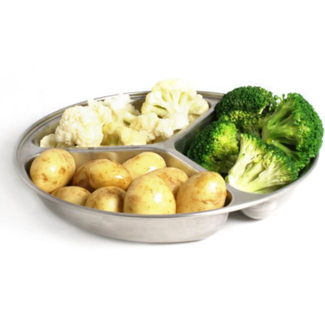 Round Vegetable Serving Dish 3 Compartments