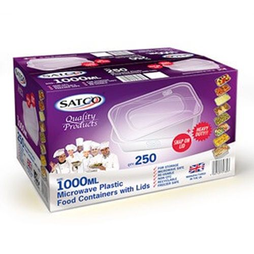 Satco 1000ml Microwave Plastic Containers with Lids
