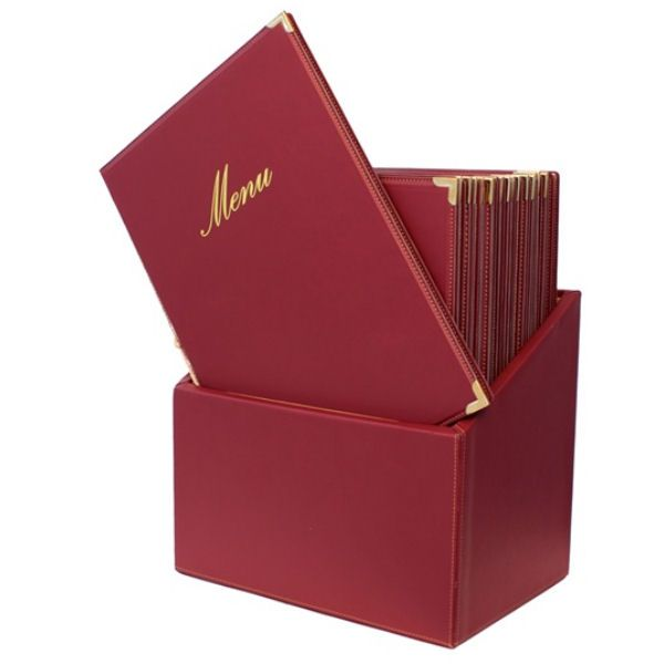 Securit Classic Red Menu Holder With 20 A4 Menus