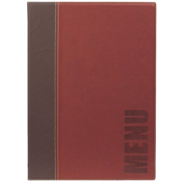 Securit Contemporary A5 Red Menu Cover 4 Pages