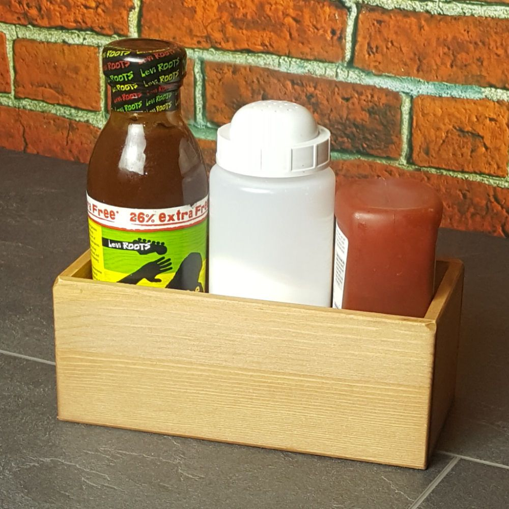 Small Wooden Condiment Table Caddy