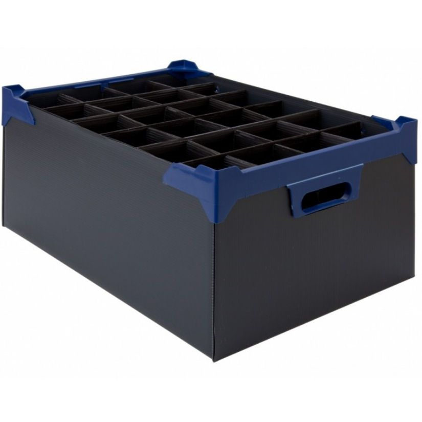 Stacking Half Pint and Hiball Glass Storage Boxes 24 Compartment - Pack of 5