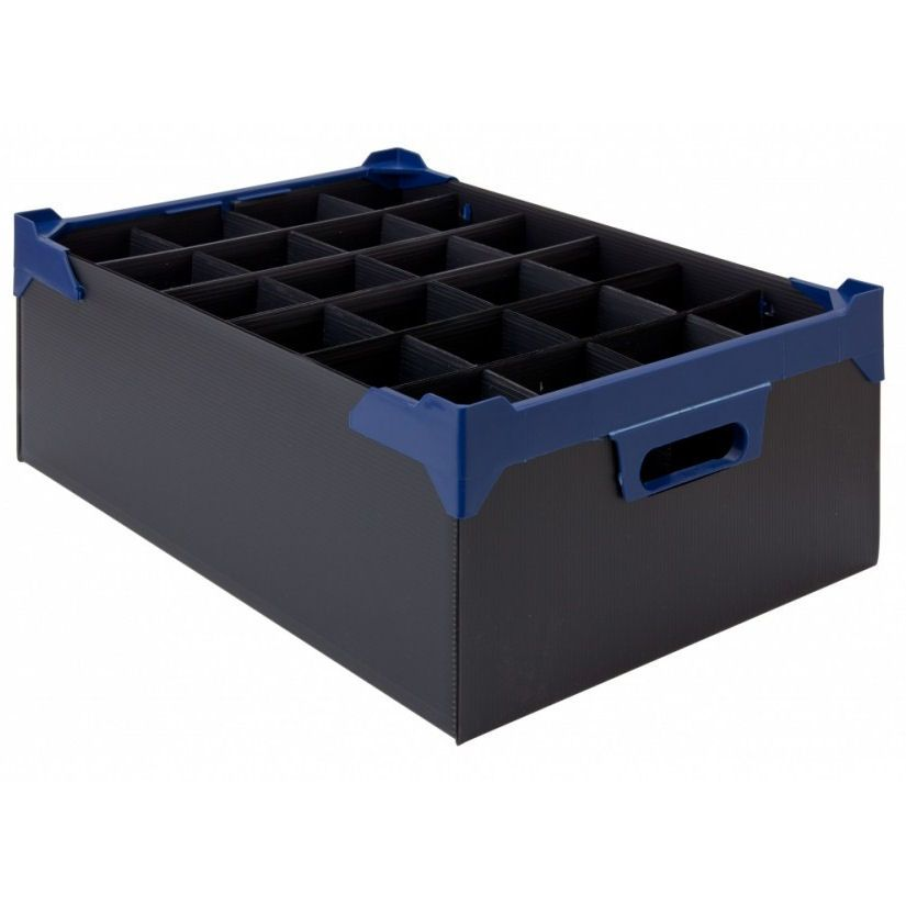 Stacking Half Pint & Hiball Glass Storage Boxes  24 Compartments - Pack of 5