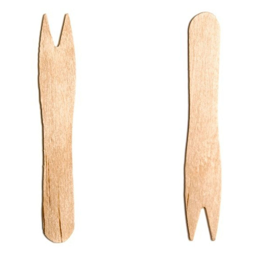Wooden Disposable Chip Forks In Dispenser Box