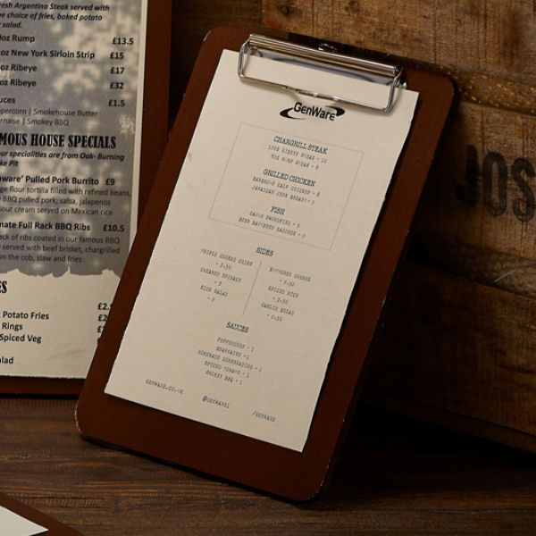 Wooden Menu Clipboard A5 18.5 x 24.5 x 0.6cm