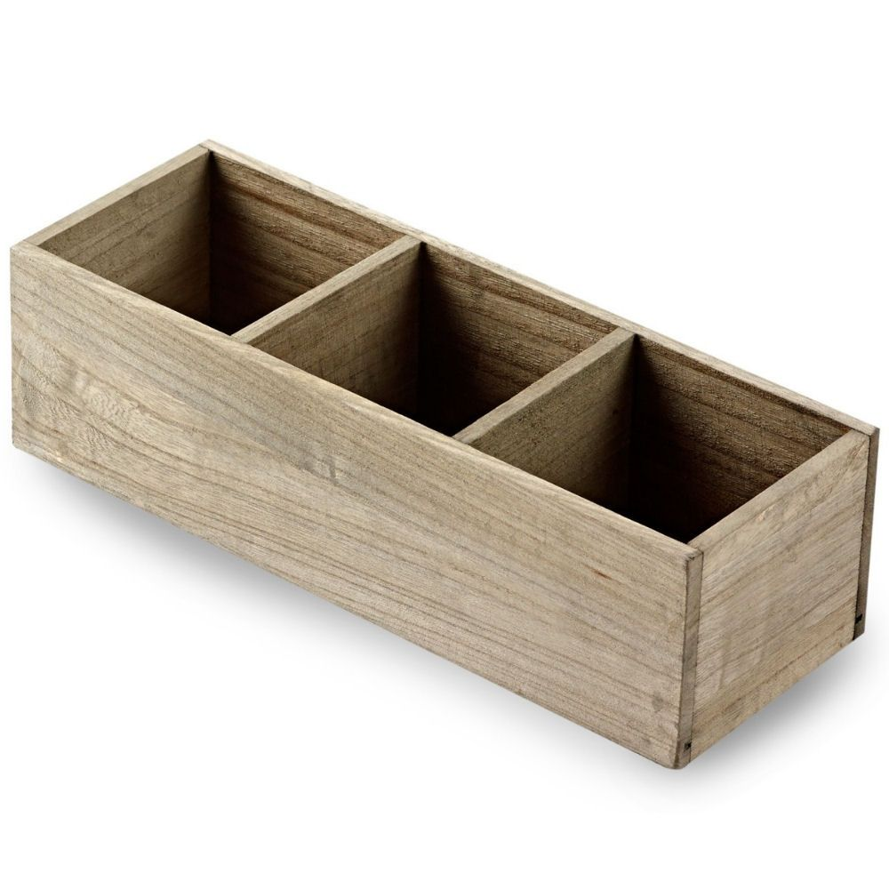 Wooden Table Caddy - 3 Compartment